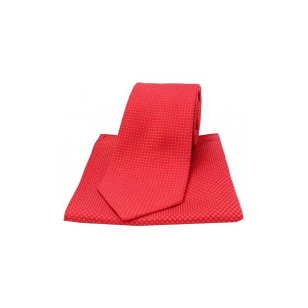 Red Silk Plain Box Weave Pattern Tie and Pocket Square