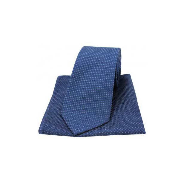 Navy Plain Box Weave Woven Silk Matching Tie and Pocket Square