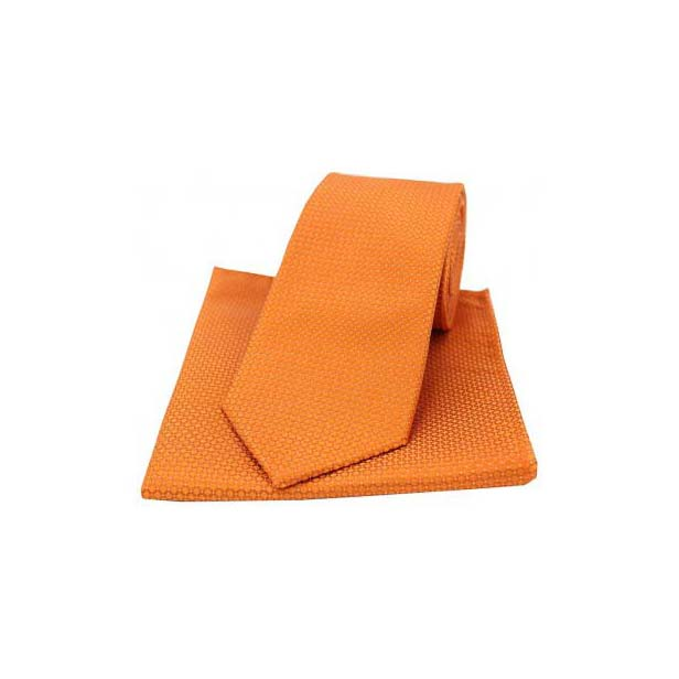 Orange Silk Plain Box Weave Pattern Tie and Pocket Square