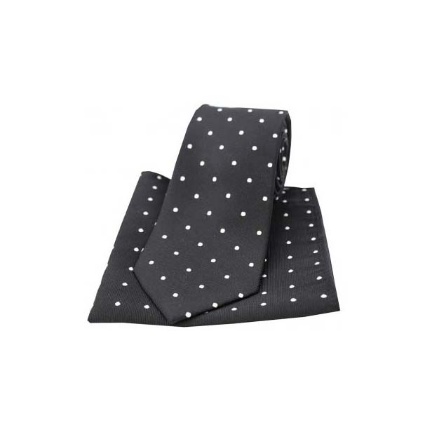 Black and White Polka Dot Silk Matching Tie and Pocket Square