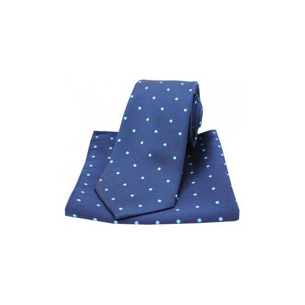 Navy and Light Blue Polka Dot Silk Matching Tie and Pocket Square