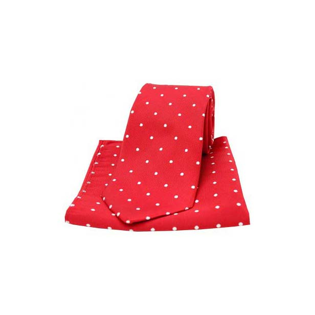 Red and White Polka Dot Silk Matching Tie and Pocket Square