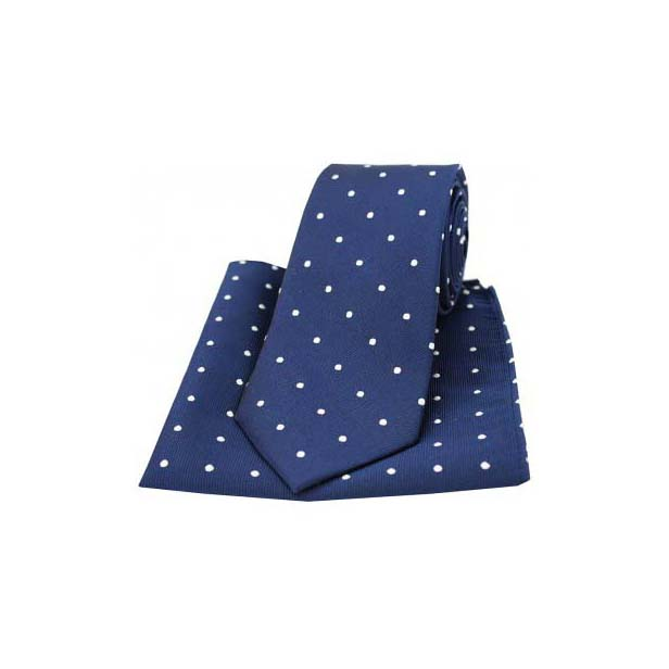 Navy and White Polka Dot Silk Matching Tie and Pocket Square