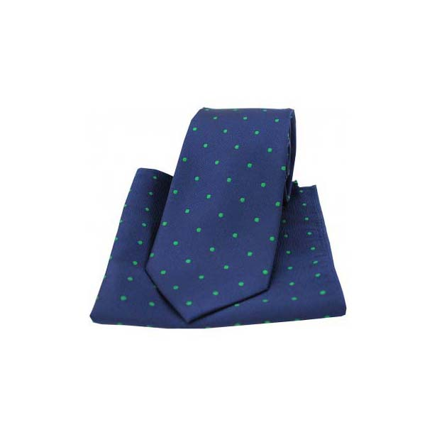 Navy and Emerald Green Polka Dot Matching Tie and Pocket Square