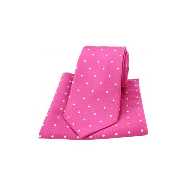 Fuchsia and White Polka Dot Silk Matching Tie and Pocket Square