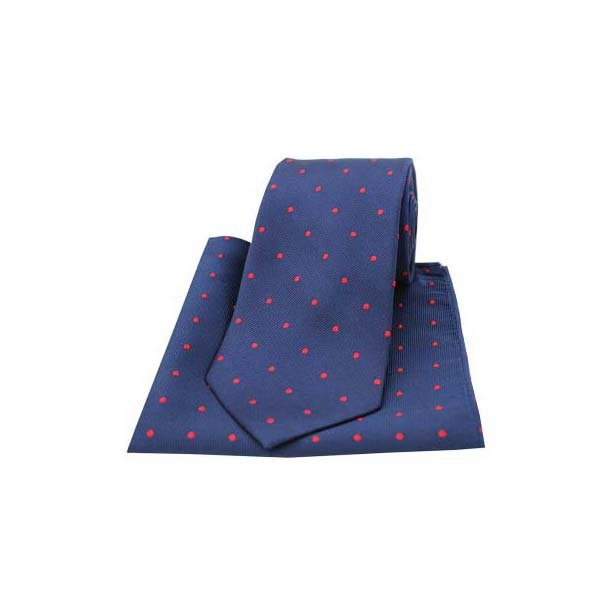 Navy and Red Polka Dot Silk Matching Tie and Pocket Square