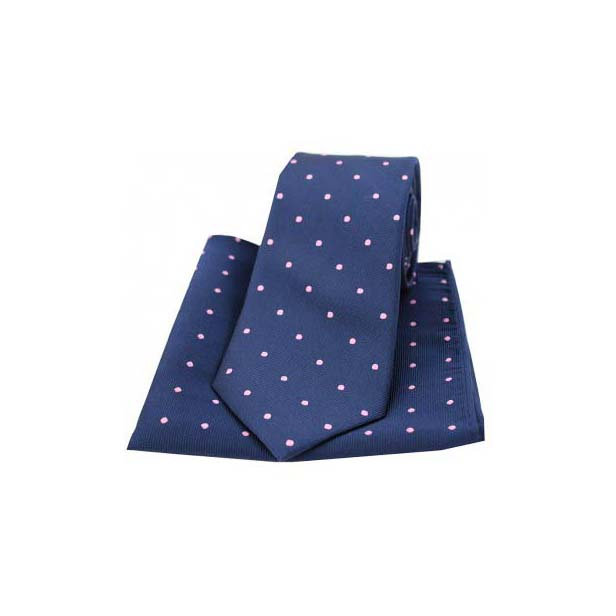 Navy and Pink Polka Dot Silk Matching Tie and Pocket Square