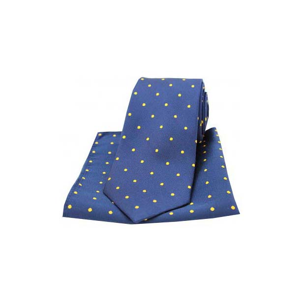 Navy and Gold Polka Dot Silk Matching Tie and Pocket Square