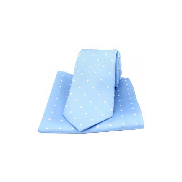 Sky Blue and White Polka Dot Silk Matching Tie and Pocket Square