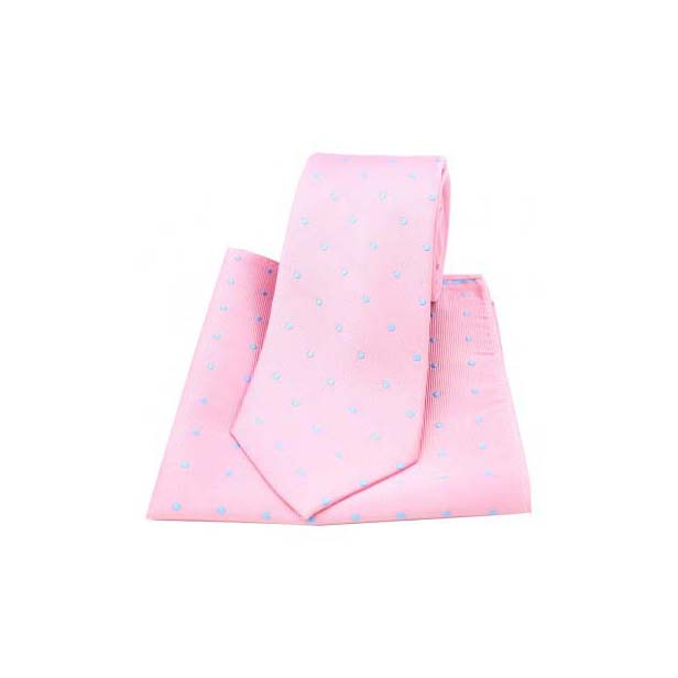 Pink and Sky Blue Polka Dot Silk Matching Tie and Pocket Square