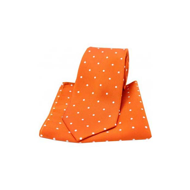 Burnt Orange and White Polka Dot Silk Matching Tie and Pocket Square