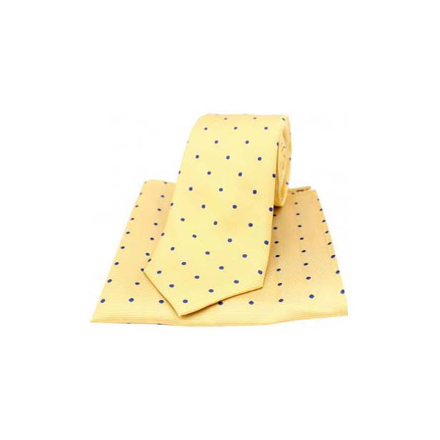Gold and Blue Polka Dot Silk Matching Tie and Pocket Square