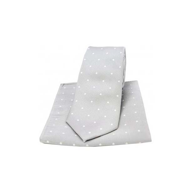 Silver and White Polka Dot Silk Matching Tie and Pocket Square