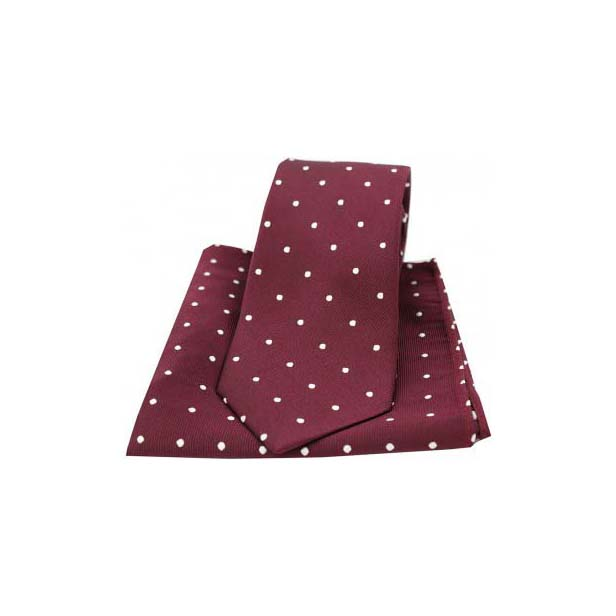 Wine and White Polka Dot Silk Matching Tie and Pocket Square