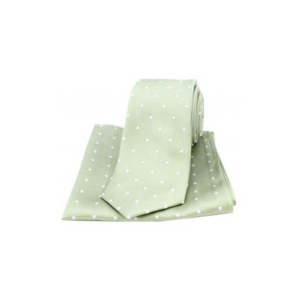 Lime Green and White Polka Dot Silk Matching Tie and Pocket Square