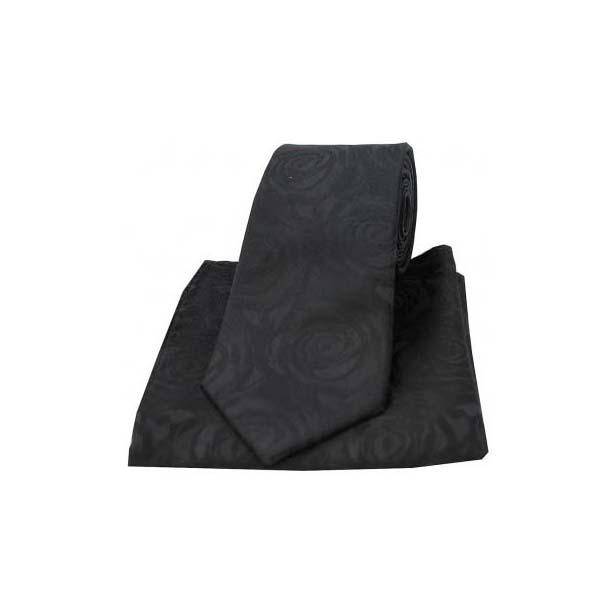 Black Silk Rose Pattern Matching Tie and Pocket Square