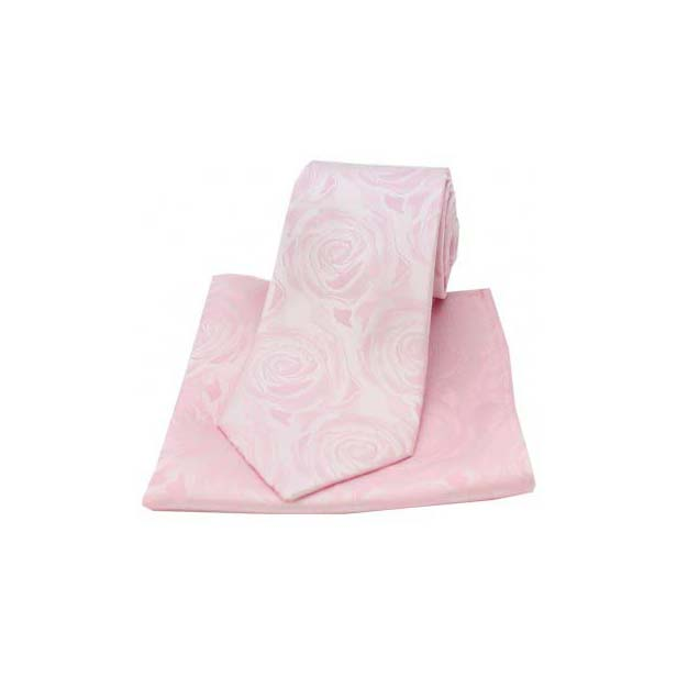Pale Pink Silk Rose Pattern Matching Tie and Pocket Square