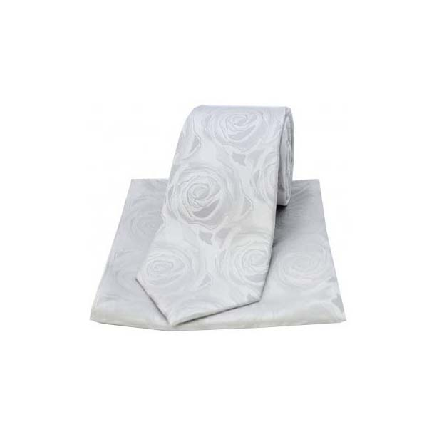 Silver Silk Rose Pattern Matching Tie and Pocket Square
