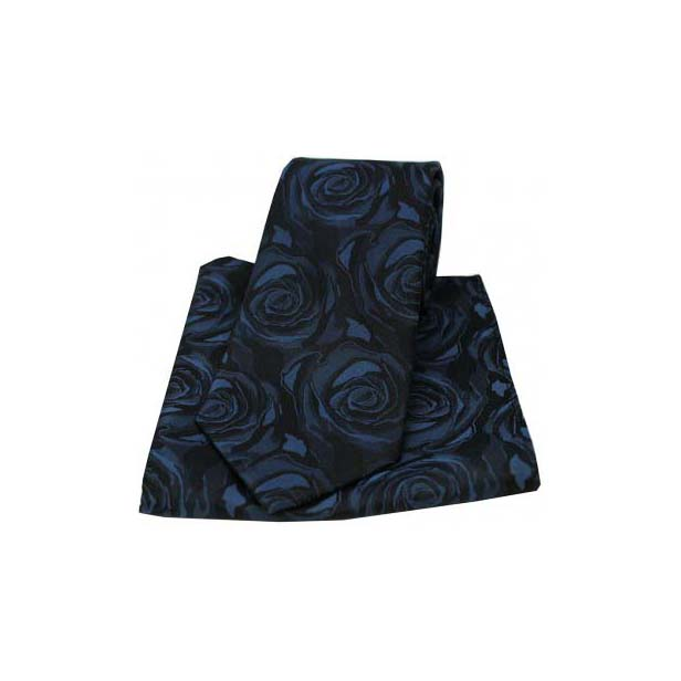 Navy Silk Rose Pattern Matching Tie and Pocket Square