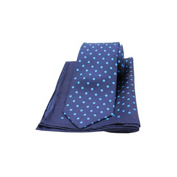 Navy and Blue Polka Dot Silk Matching Tie and Pocket Square