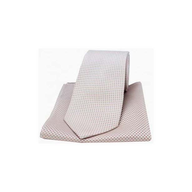 Stone Box Pattern Woven Silk Matching Tie and Pocket Square