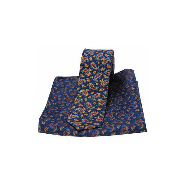 Small Edwardian Navy Paisley Silk Matching Thin Tie and Pocket Square