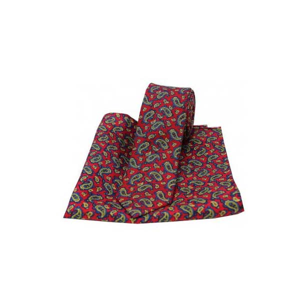 Small Edwardian Red Paisley Silk Matching Thin Tie and Pocket Square