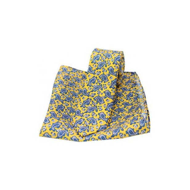 Small Edwardian Yellow Paisley Silk Matching Thin Tie and Pocket Square