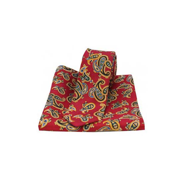 Large Edwardian Red Paisley Silk Matching Thin Tie and Pocket Square