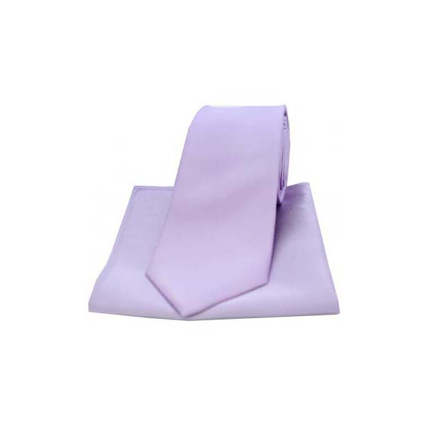 Light Lilac Satin Silk Matching Tie and Pocket Square