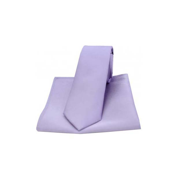 Light Lilac Satin Silk Matching Thin Tie and Pocket Square