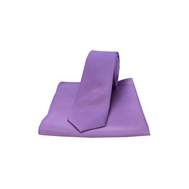 Lilac Silk Satin Silk Matching Thin Tie and Pocket Square