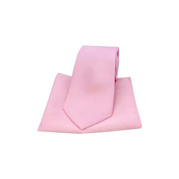 Pink Satin Silk Matching Tie and Pocket Square