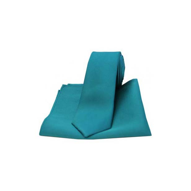 Teal Satin Silk Matching Tie and Pocket Square