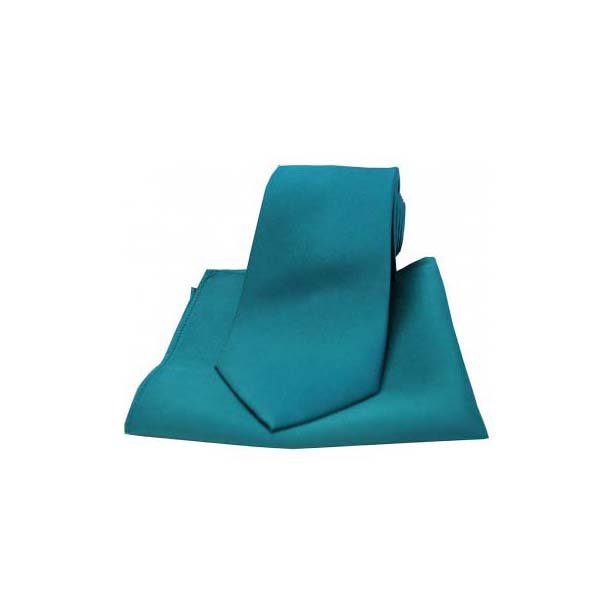 Teal Satin Silk Matching Thin Tie and Pocket Square