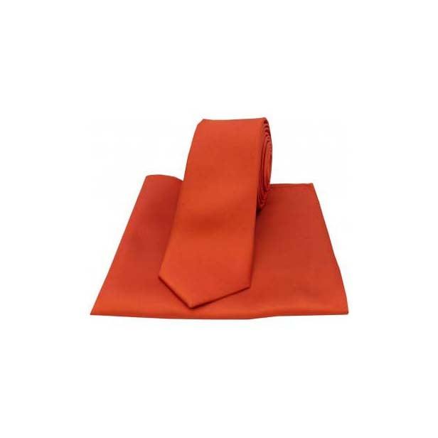 Burnt Orange Satin Silk Matching Tie and Pocket Square