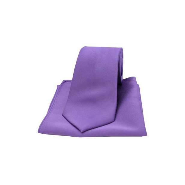 Purple Satin Silk Matching Tie and Pocket Square