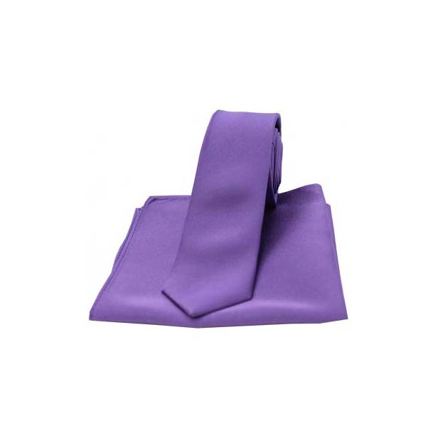 Purple Satin Silk Matching Thin Tie and Pocket Square