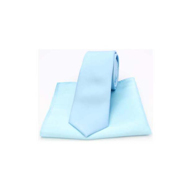 Sky Blue Satin Silk Matching Thin Tie and Pocket Square