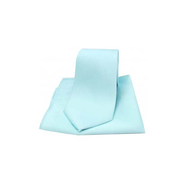 Cyan Satin Silk Matching Tie and Pocket Square