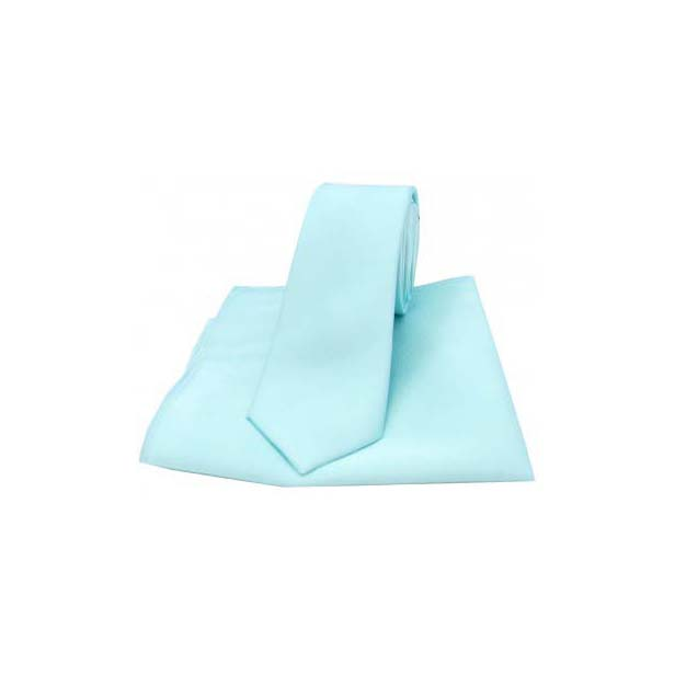 Cyan Satin Silk Matching Thin Tie and Pocket Square