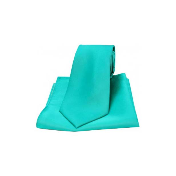 Turquoise Satin Silk Matching Tie and Pocket Square