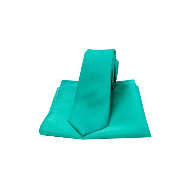 Turquoise Satin Silk Matching Thin Tie and Pocket Square