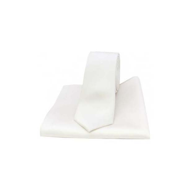 White Satin Silk Matching Thin Tie and Pocket Square