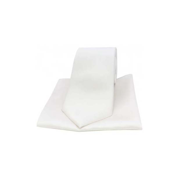 White Satin Silk Matching Tie and Pocket Square