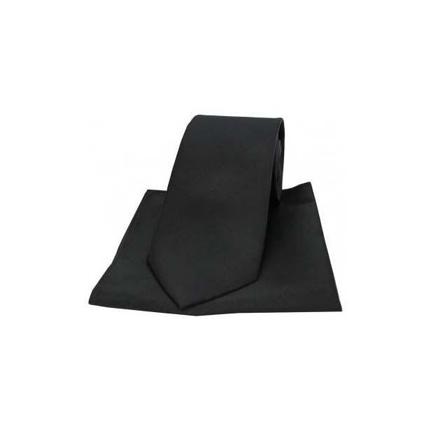 Black Satin Silk Matching Tie and Pocket Square