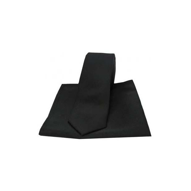 Black Satin Silk Matching Thin Tie and Pocket Square