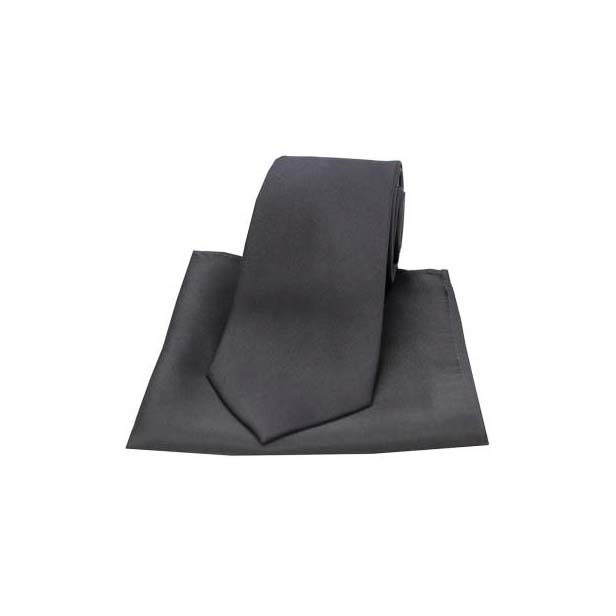 Charcoal Grey Satin Silk Matching Tie and Pocket Square