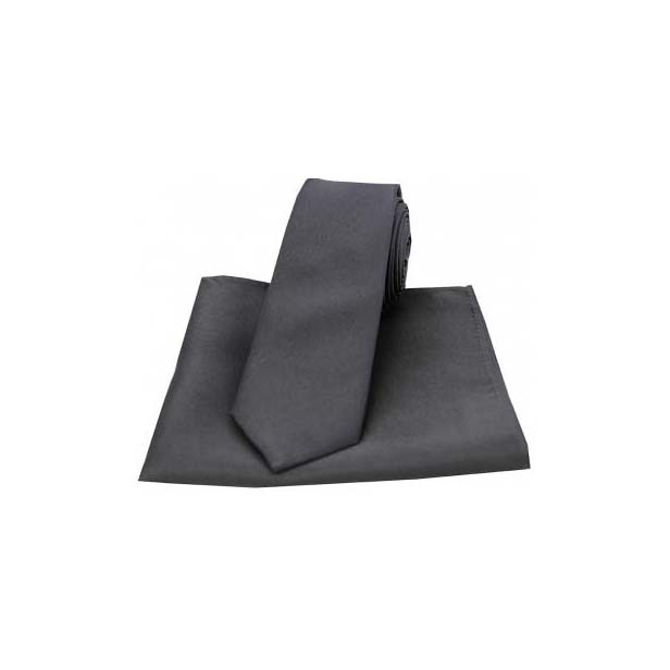 Charcoal Grey Satin Silk Matching Thin Tie and Pocket Square