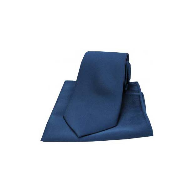 Navy Satin Silk Matching Tie and Pocket Square